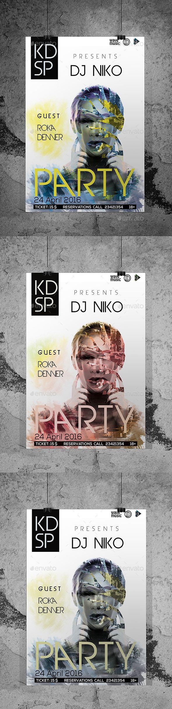 DJ Club Party Flyer/Poster Custom PSD File  #design graphicriver abstract poster @sagaciousdesign
