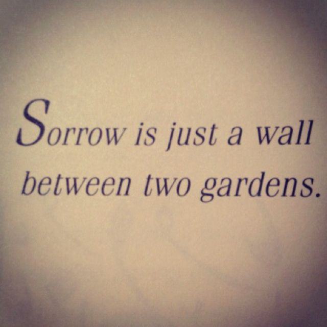 Sorrow is just a wall between two gardens. ~ Khalil Gibran