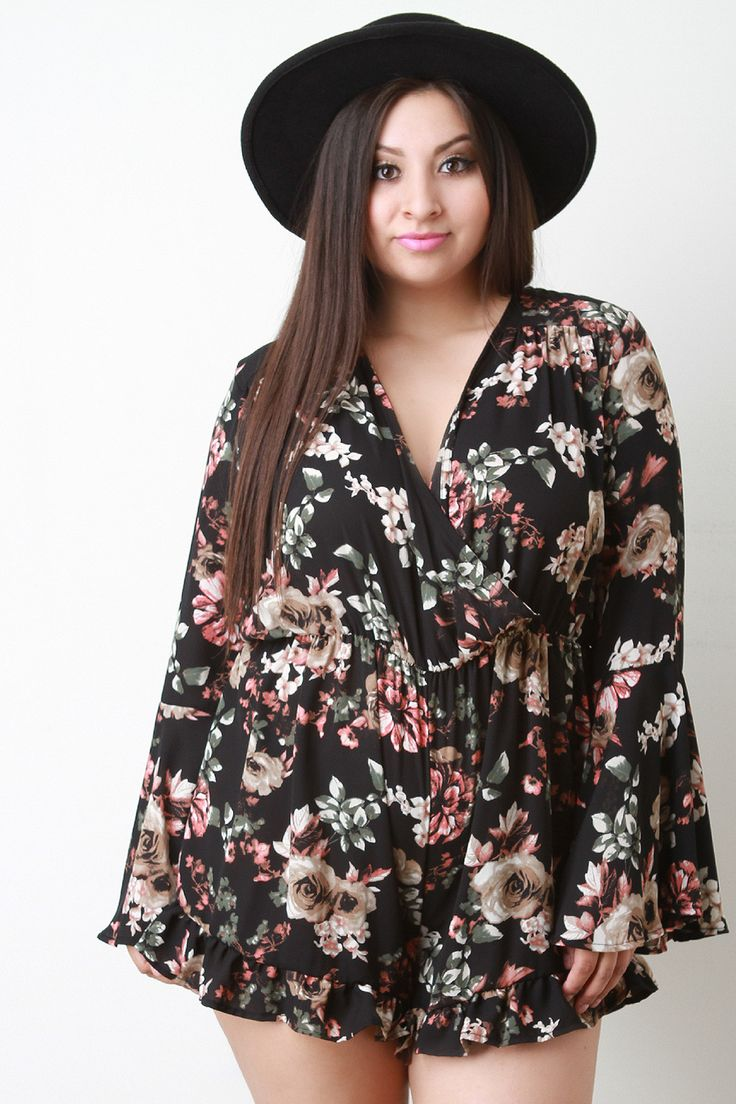 This plus size romper features light weight chiffon fabrication, floral print pattern, surplice neckline, elastic waist, long bell sleeves, wide cut shorts with a ruffle trim, and a back keyhole with