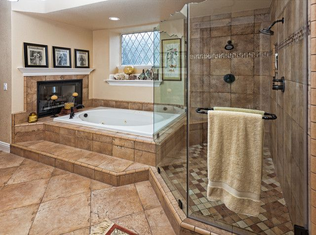 Wide Closed Shower Room With Glass Door And Bronze Above Brown Bathroom Flooring Ideas