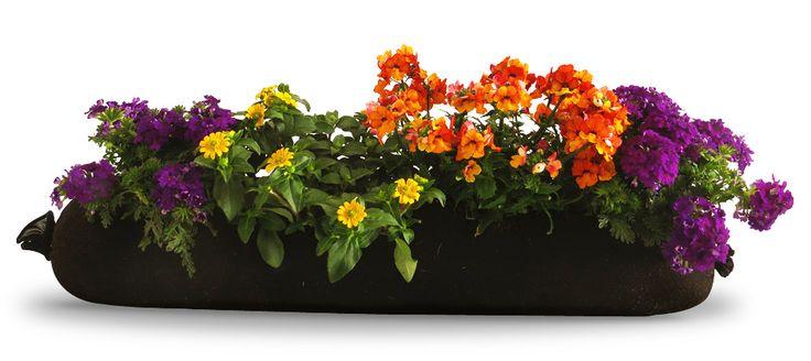 Großer Blumen-Bag bepflanzt mit Husarenknopf, Elfenspiegel und Eisenkraut.