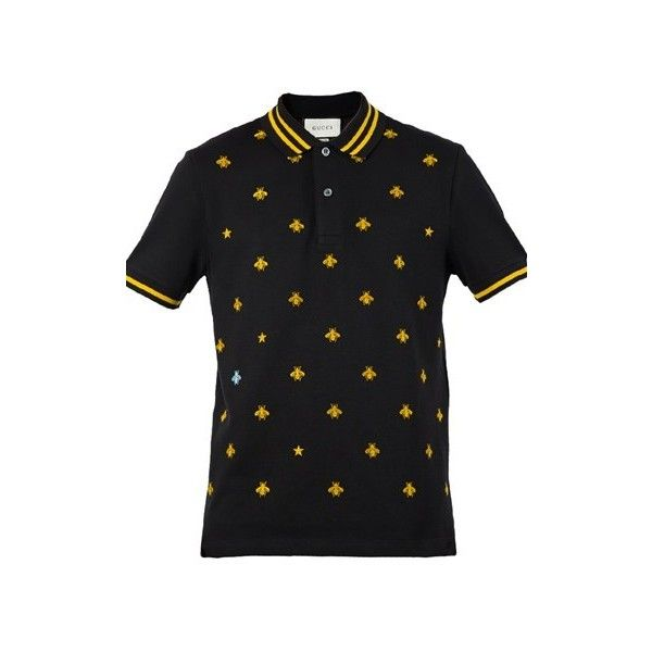 GUCCI Embroidered Bees Polo Shirt ($545) ❤ liked on Polyvore featuring men's fashion, men's clothing, men's shirts, men's polos, black, mens embroidered shirts, mens short sleeve polo shirts, mens polo shirts, gucci mens shirts and mens short sleeve shirts