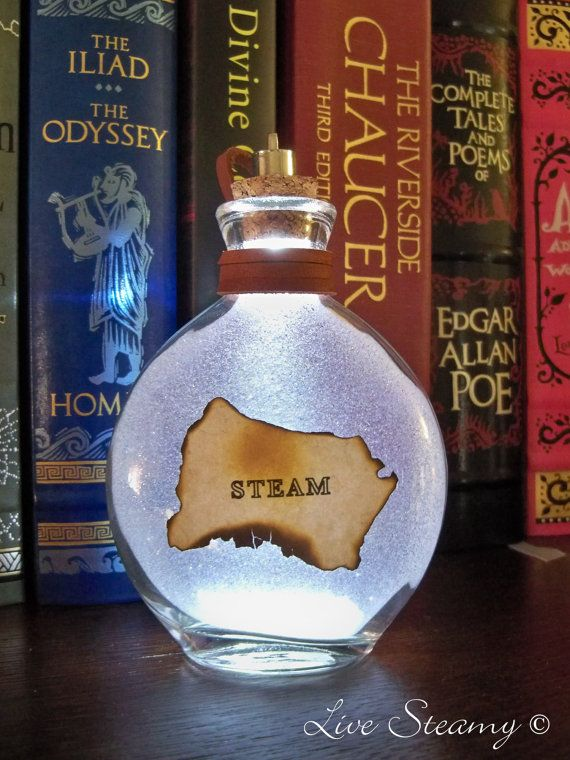 Once Upon a Fantasy Steampunk light up bottles STEAM by LiveSteamy, $17.00