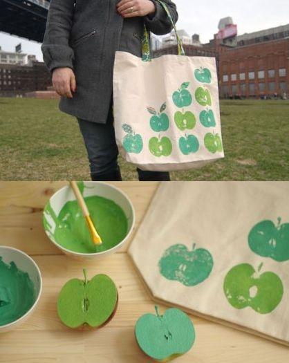 Personnalisation tissu motif pomme