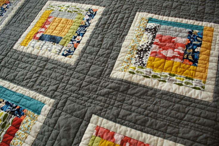 Modern log cabin color blocks on gray by Spotted Stone Studio (Krista) - awesome!
