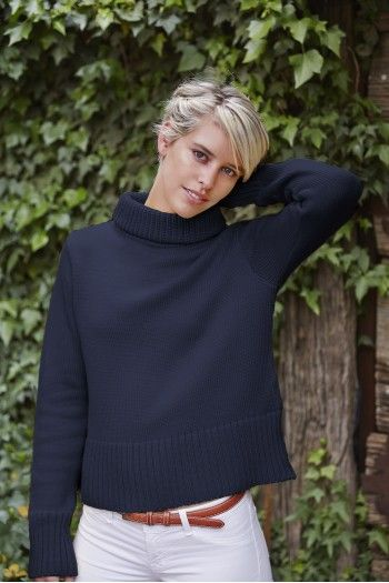Lady Kate High Neck Sweater in Slate Blue