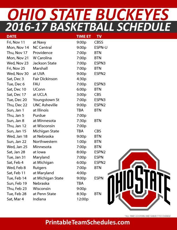 Ohio State Buckeyes Basketball Schedule 2016-17. Print Here - http://printableteamschedules.com/NCAA/ohiostatebuckeyesbasketball.php