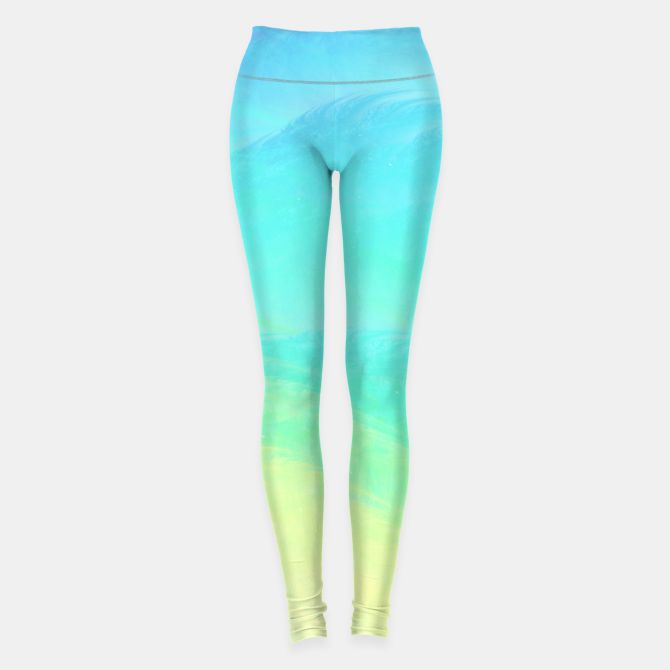 Marine Coast Leggings, Live Heroes @liveheroes #buyart #liveheroes #fashion #woman #clothes #fashionblogger #feather #haze #aqua #yellow #limon #abstract #feather #fog #ombre #gradient #fractal #wave #ariskina #beach #sun #marine #sea #coast #sand #turquoise