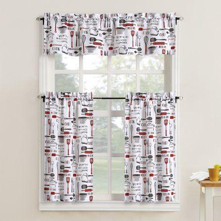 Mainstays Bistro 3 Piece Kitchen Curtain Tier And Valance Set Walmart Com Red Kitchen Curtains Kitchen Curtains Curtains