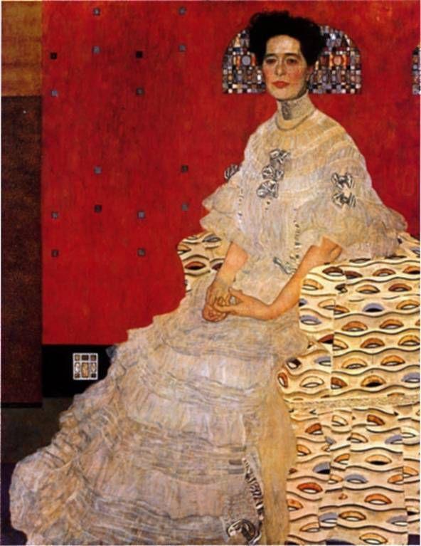 Bildnis Fritza Riedler de 1906 - Österreichische Galerie, Viena, óleo de Gustav Klimt (1862-1918, Austria)