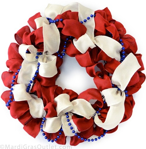 DIY Burlap Ribbon wreath for Memorial Day or Fourth of July, using twig-works wreath form