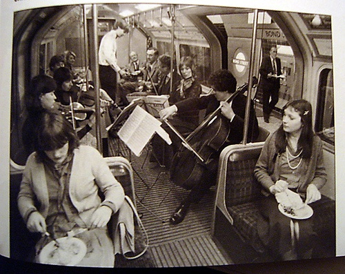 Jubilee Line Opening May 1979. London Underground surprised commuters with a meal and a string quartet. How things change.