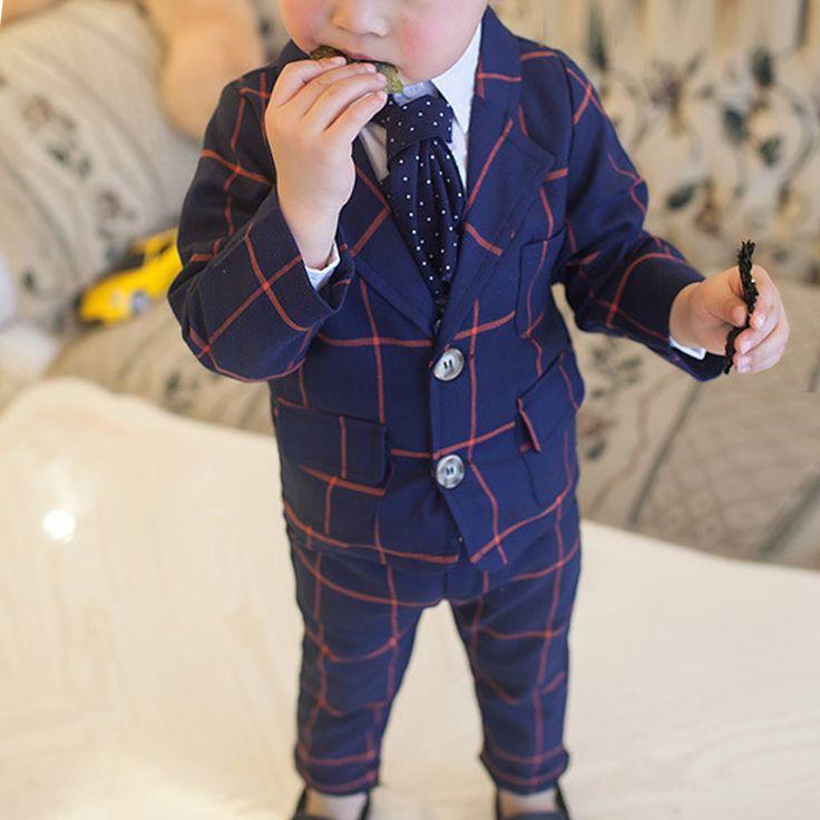 2017 New Autumn Baby Boys Handsome Western-style Cotton Plaid Long Sleeve Coat+ Pants Trousers Two-piece Roupas Infantis Menino