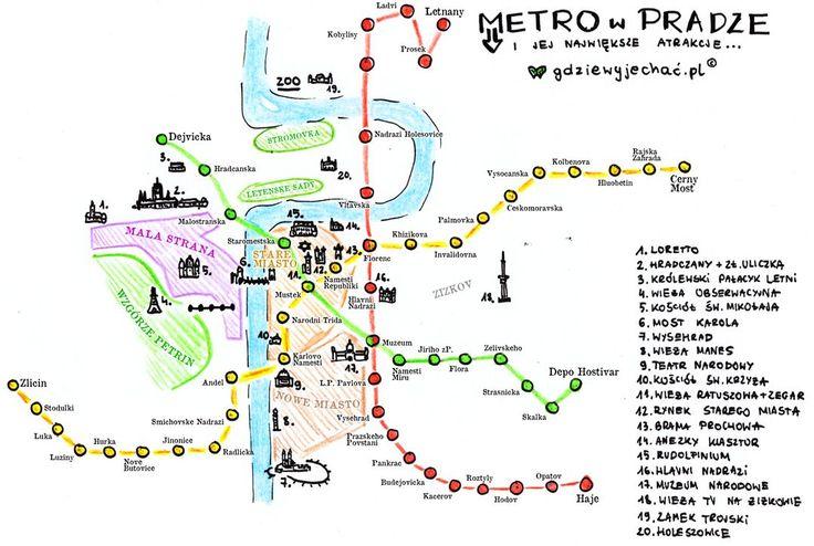 praga mapa metro zabytki