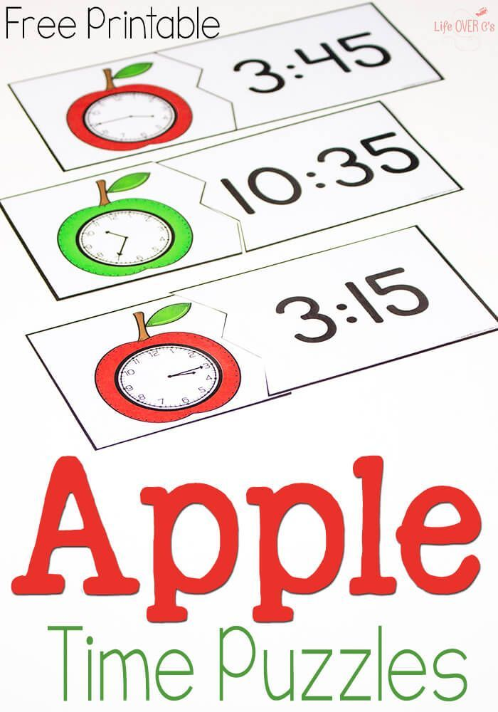 These free printable time puzzles with an apple theme are perfect for learning to tell time! Love it for my apple themed lessons!: