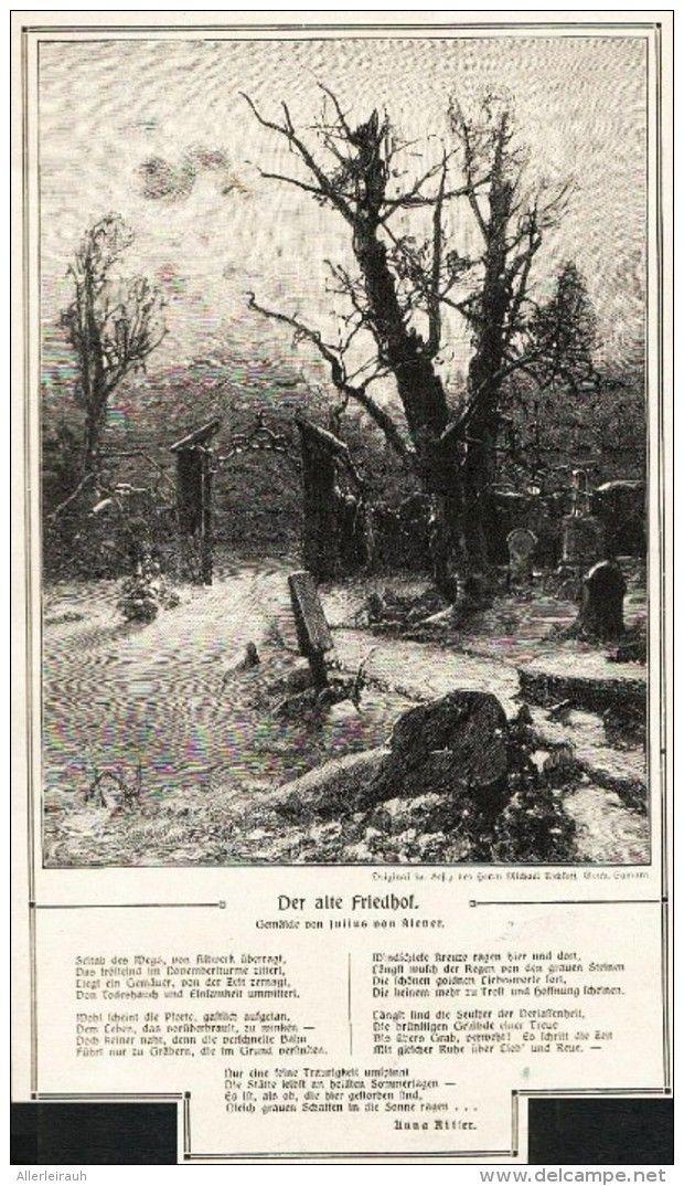 """Der alte Friedhof (Julius von Klever)   -  Druck mit Gedicht (Anna Riffer)  , entnommen aus """"Die Gartenlaube """", 1910"""