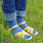 Socks and Sandals... definitely works for me! I love this combination of sunshiney yellow sandals with stripey socks!