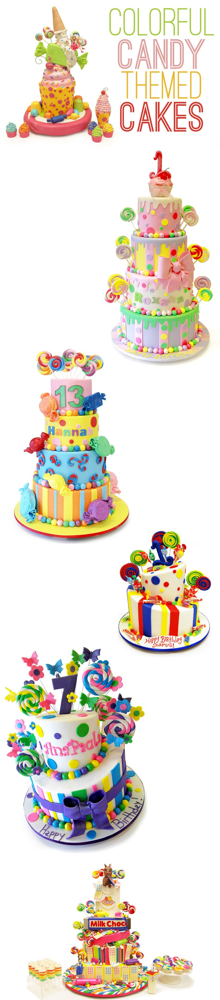 A candy themed cake can evoke nostalgic memories of childhood, or become a colorful focal point for a birthday party, shower or Bat Mitzvah. Take a look at some of our favorite candy themed cakes and find some inspiration of your own!