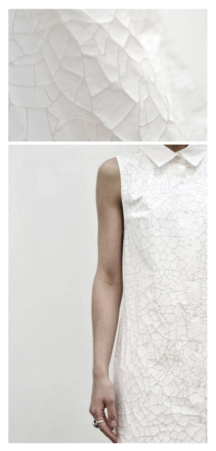 Imogen Houldsworth  designer textile textures impression motif 3D  BA Graduate Collection - Autumn Winter 2011