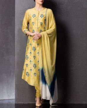 Blue and Ochre Yellow Floral Painted Suit