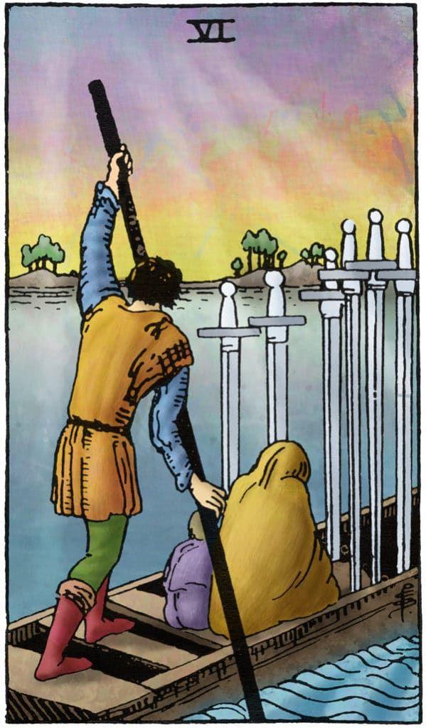 Rider Waite Tarotkaart Zwaarden Zes: Je kan de oceaan niet oversteken, tenzij je de moed hebt om het zicht op de kust te verliezen. (Christopher Columbus)