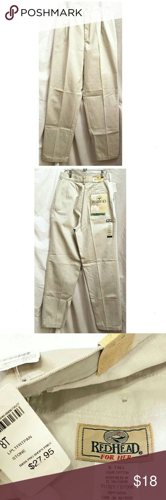 "Redhead Khaki Pants Size 8 Tall NWT Stone Color Made in El Salvador by Redhead Size: 8 Tall 100% cotton Machine wash and dry Pleated front Retail $27.95  Measurements are approximate and un-stretched  Length 45"" Inseam 33""' Rise 13"" Waist 28"" Hips 44"" Redhead Pants Trousers"