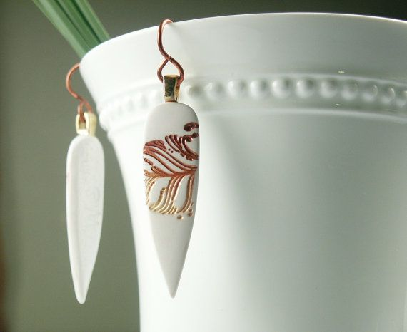 Polymer Clay White Earrings featuring Rust, Red and Gold Feather Design via Etsy
