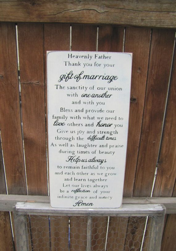 Gift Of Marriage Prayer Wooden Primitive Sign Wall Hanging