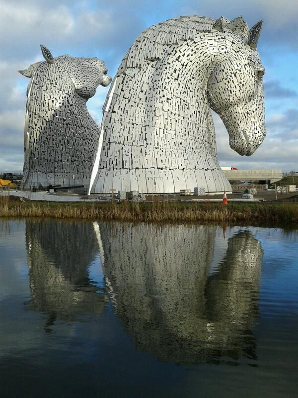 The Kelpies, 98ft horse head sculptures by Andy Scott in Falkirk, Scotland. Stunning.