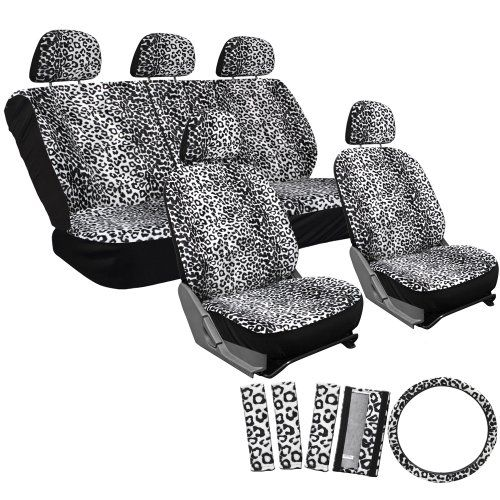 OxGord 17pc Set Car Seat Cover Set- Leopard Gray- Universal Fit for Car, Truck, SUV, or Van - Steering Wheel Cover. For product info go to:  https://www.caraccessoriesonlinemarket.com/oxgord-17pc-set-car-seat-cover-set-leopard-gray-universal-fit-for-car-truck-suv-or-van-steering-wheel-cover/