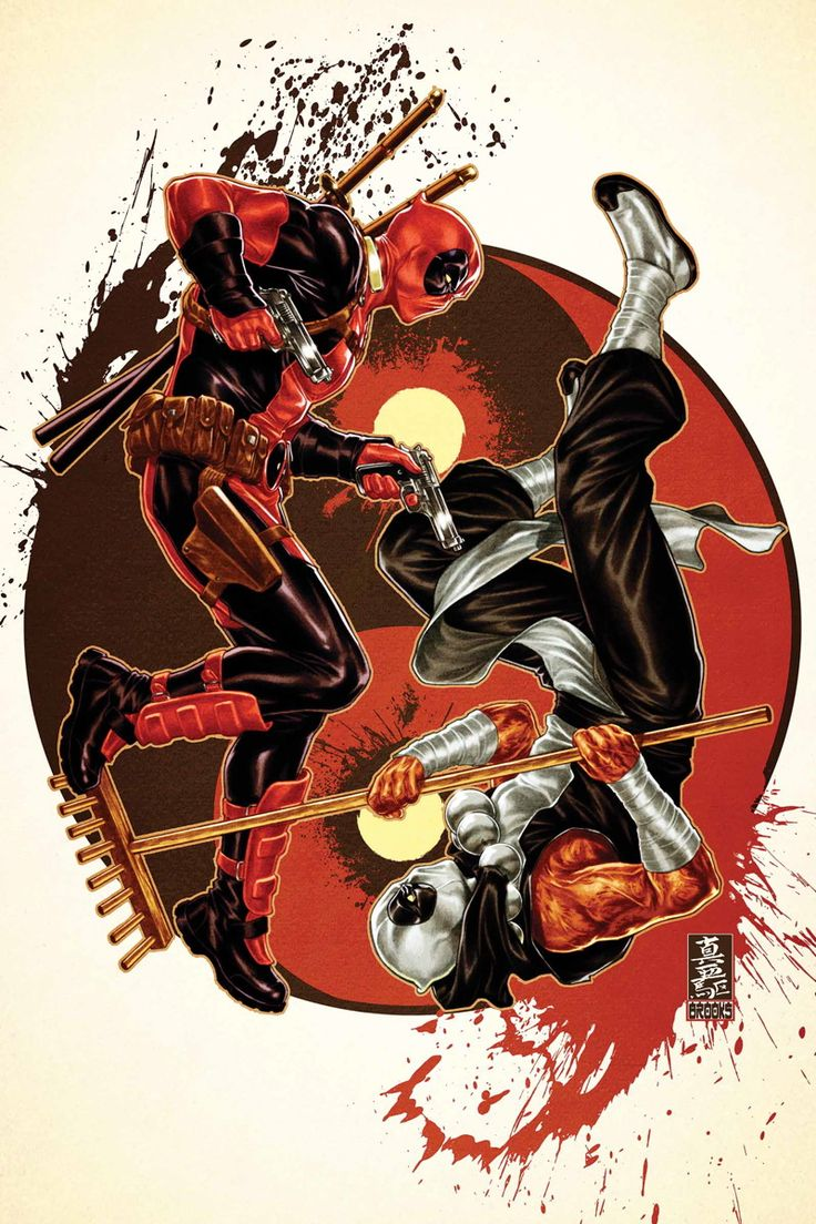 DEADPOOL #38-39 .... DECEMBER 2014 ...  GERRY DUGGAN & BRIAN POSEHN (W) MIKE HAWTHORNE (A) CoverS by MARK BROOKS AXIS TIE-IN! • You heard right—since the events of AXIS inverted him... • DEADPOOL HAS GONE ZEN! • HE FOUND PEACE! HE SWORE OFF VIOLENCE! • So how is he going to help his friends live through the inverted X-Men?!?