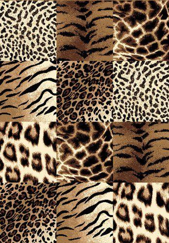 Creative Home Safari Area Rug 42026 77 Brown Checkered Cheetah Animal Print  5u0027 3