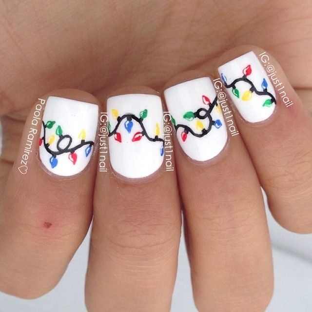 Instagram Just1nail Christmas Light Nails Inspired By Lifeisbetterpolished Nailart I Like Nail Designs