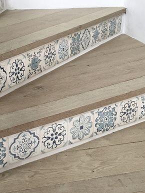 tiled stair riser detail // Malibu Mediterranean Modern Farmhouse Giannetti Home