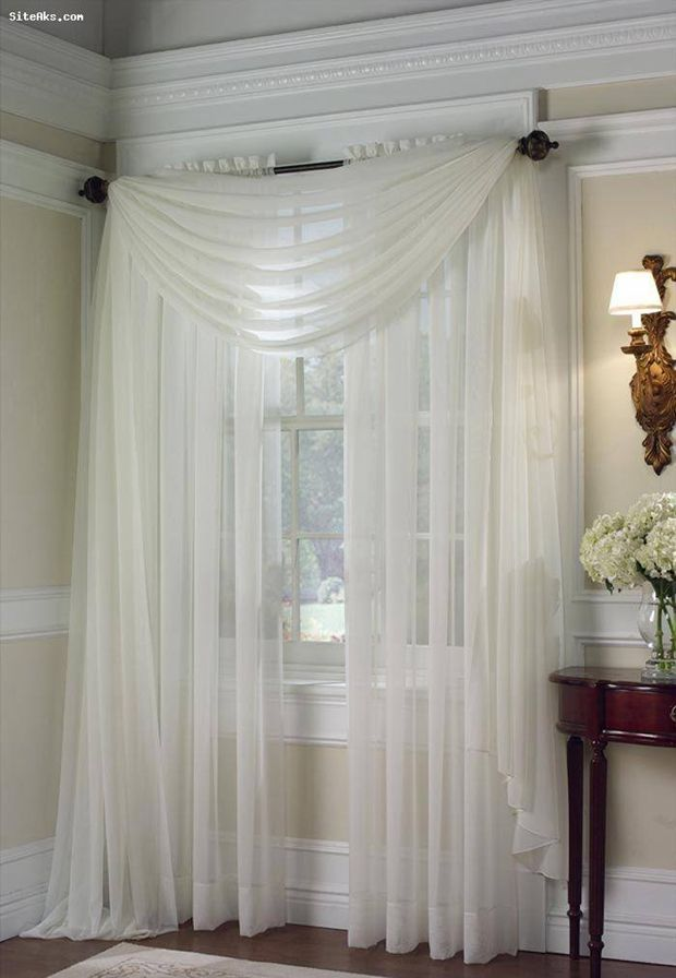 biege ivory off white 2 pcs sheer voile window panel solid curtain
