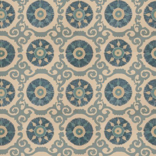 Fabricut Talc Suzani Ocean Fabric