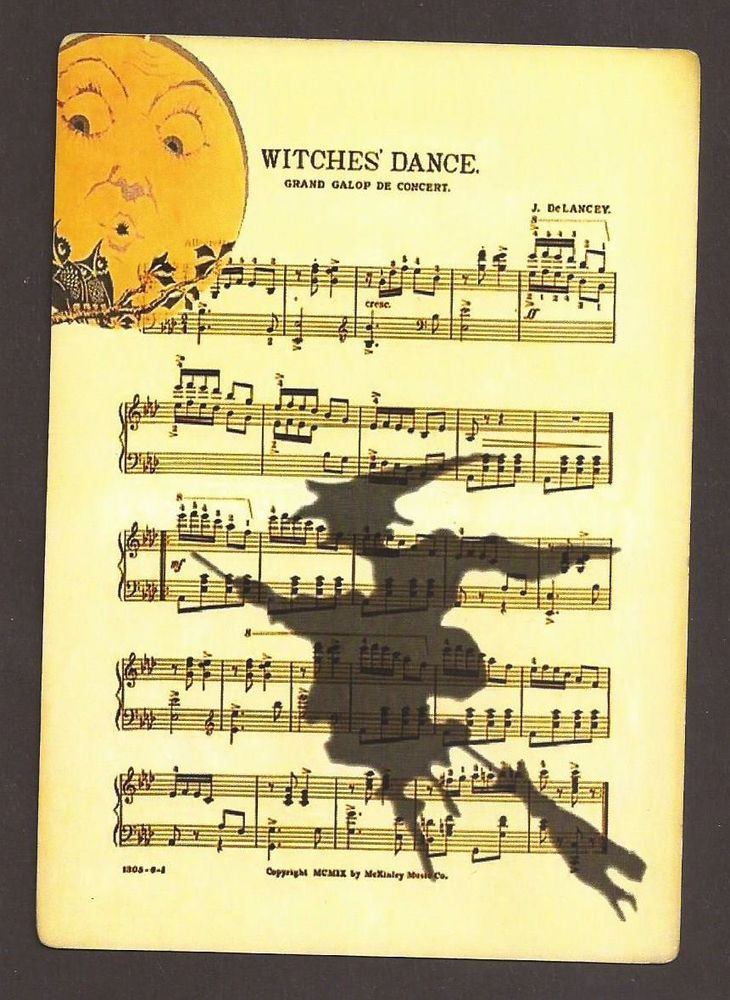 Witches' Dance Shadow Witch on Broom Full Moon Postcard Postkarte #Halloween