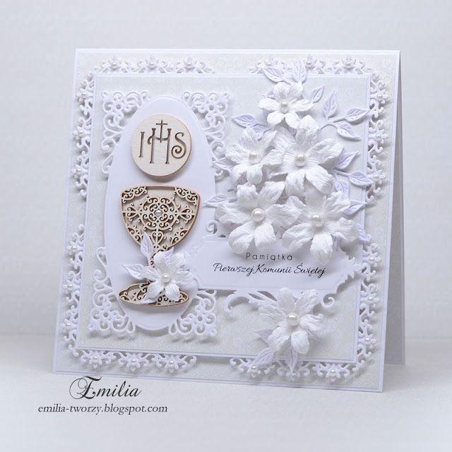 Kartka komunijna w bieli/Pierwsza Komunia Święta/Holy Communion