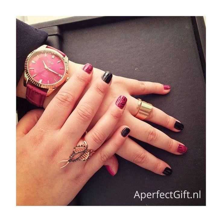 LOISIR merkhorloge dames met bordeaux rood leder/leren horlogebandje