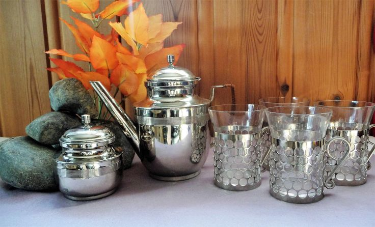 Vintage Filigree Silver Plated Tea Coffee Set Pot Sugar 4 Glass Holders Cups Podstakan Set by Grandchildattic on Etsy