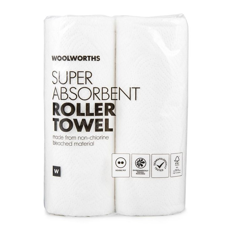 Double Ply Super Absorbent Roller Towel 2Pk