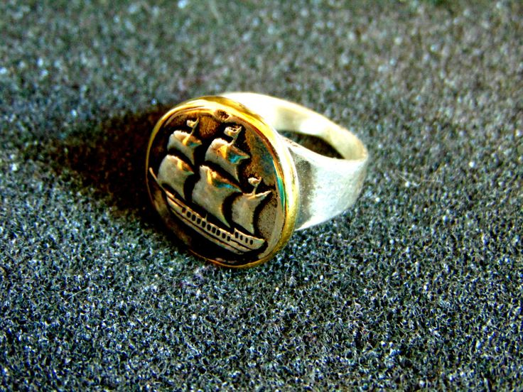 Stunning silver and bronze men's signet ring-Men sailing ship statement ring-925 silver signet ring-Artisan jewelry-Men vintage ring by ArchipelagosBreeze on Etsy