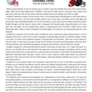 Sixth Grade Reading Comprehension Worksheet Football