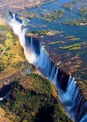 Victoria falls:  is a waterfall in southern Africa on the Zambezi River at the border of Zambia and Zimbabwe.