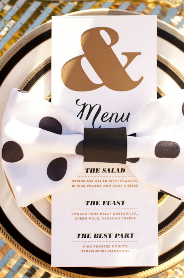 Black and gold place setting | Christa Elyce Photography and @twobewed | see more on: http://burnettsboards.com/2014/06/colorful-fun-kate-spade-wedding/ #katespade