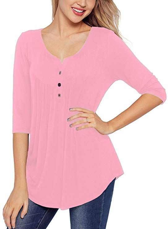 0e1d3519d7869 BLENCOT Casual Womens Tunics Tops 3/4 Sleeve Button up Flare Tunic Pleated  Solid Swing Blouse Fall Tunic Tops Women #fallfashion #autumnstyle #blouses  # ...