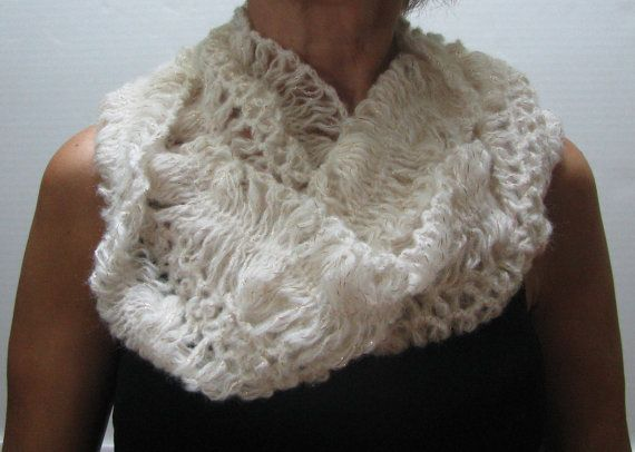 Beige color knitted  shawl / scarf Size: standart by knittingwomen
