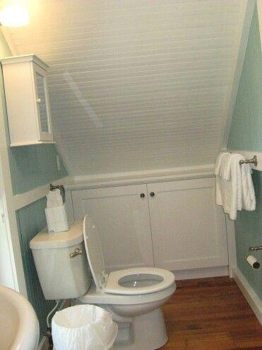 Bathroom under stairs                                                                                                                                                     More