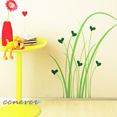 happy love grass 22inch H----Removable Graphic Art wall decals stickers home decor. $29.95, via Etsy.