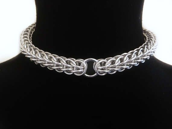 "1/3"" Chainmail Choker - Chainmaille Collar - Fetish Kink Jewellry - Steel Silver Jewelry - Full Persian Accessory - Mens Womens Sub Slave by JohnsChainmailShop from John's Chainmail Shop. Find it now at http://ift.tt/2jL9lhp!"